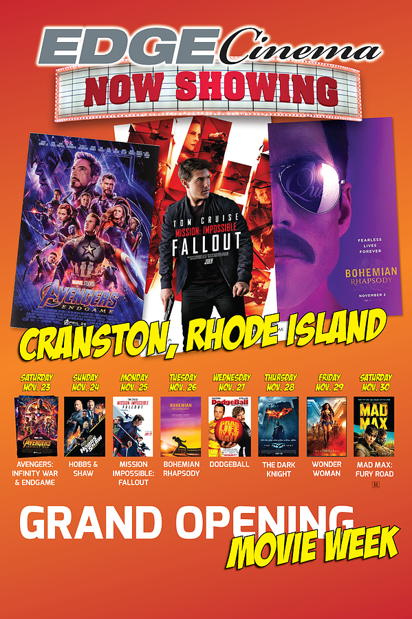 Cranston Grand OPENING-CINEMA Schedule