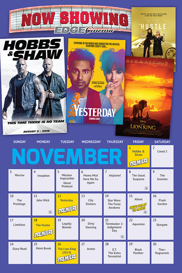 EDGE-Cinema Schedule NOV-2019
