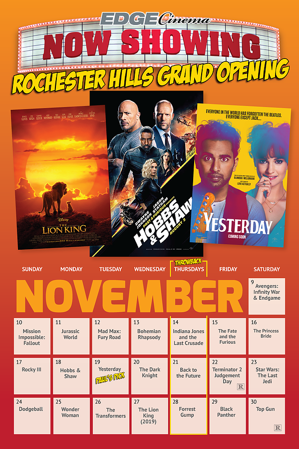 Edge Cinema Rochester Hills REVISED Schedule