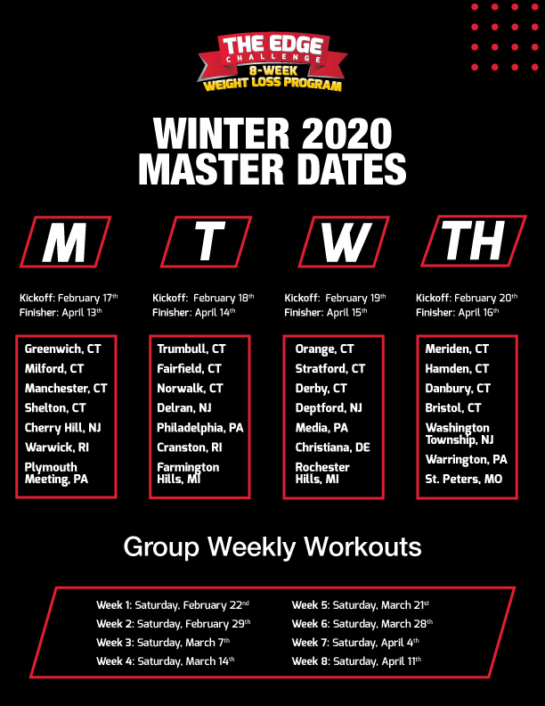 Winter 2020 Edge Challenge Schedule